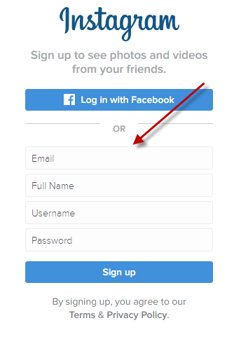 instagram business account sign up step 1