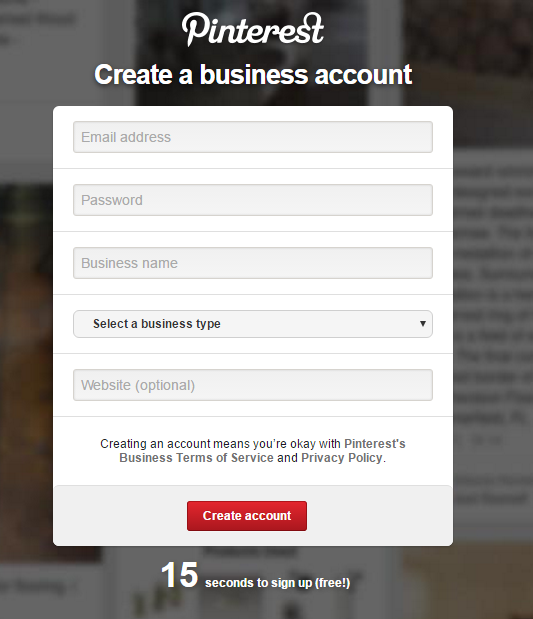 Pinterest Business Account - Create