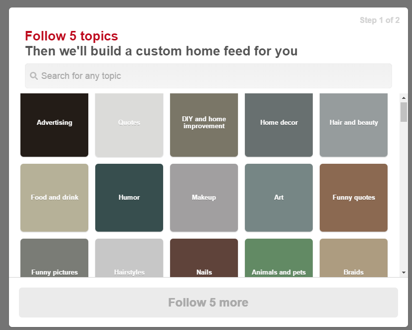 Pinterest Business Account - Select 5 Topics