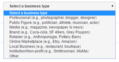Pinterest Business Account - Select Business Type